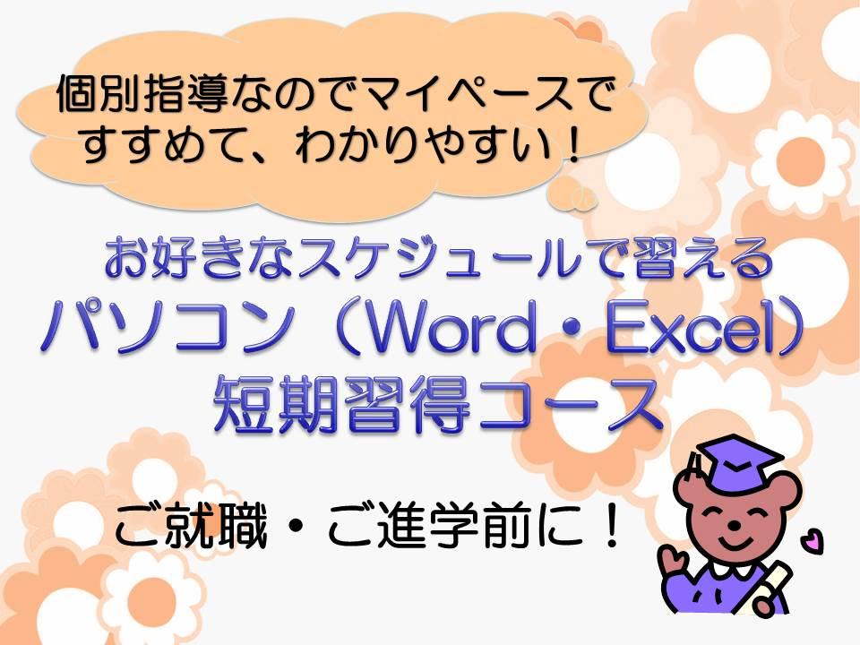 お好きなスケジュールで習えるパソコン(Word・Excel)短期習得コース!